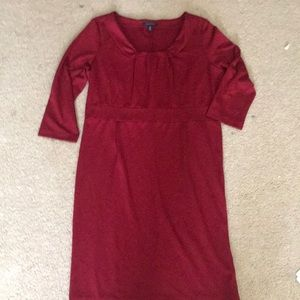 Lands end Rich Red Ponte Knit pleated Front Dress